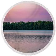 Colorful Lake-side Sunset Round Beach Towel