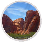 Colorful Landscape Rock Mountains Of Overton Nevada  Round Beach Towel
