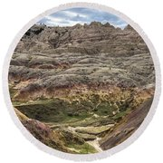Colorful Layered Mountains  Round Beach Towel