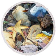 Colorful Leaves And Rocks In Creek Round Beach Towel