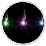 Colorful Light Bulbs Round Beach Towel
