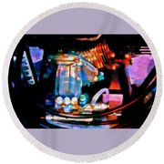 Colorful Machine In Blue And Purple Round Beach Towel
