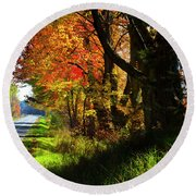Colorful Maples Round Beach Towel