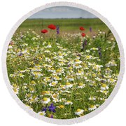 Colorful Meadow With Wild Flowers Round Beach Towel