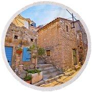Colorful Mediterranean Stone Street Of Prvic Island Round Beach Towel