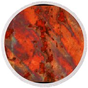 Colorful Metal Abstract With Border Round Beach Towel