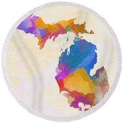 Colorful Michigan Round Beach Towel