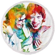 Colorful Mick And Keith Round Beach Towel