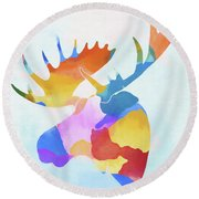 Colorful Moose Head Round Beach Towel
