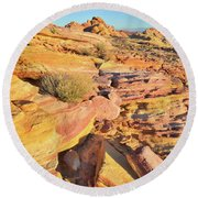 Colorful Morning At Valley Of Fire Round Beach Towel