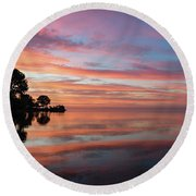 Colorful Morning Mirror - Spectacular Sky Reflections At Dawn Round Beach Towel