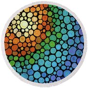 Colorful Mosaic Art - Blissful Round Beach Towel