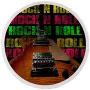 Colorful Music Rock N Roll Guitar Retro Distressed  Round Beach Towel