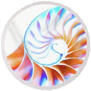 Colorful Nautilus Round Beach Towel