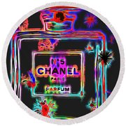 Colorful Neon Chanel Five  Round Beach Towel