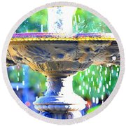 Colorful New Orleans Fountain Round Beach Towel