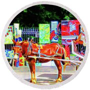 Colorful New Orleans Round Beach Towel