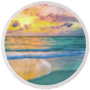 Colorful Ocean Sky Round Beach Towel