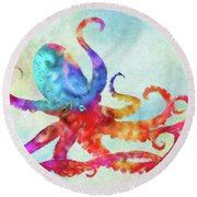 Colorful Octopus Round Beach Towel