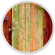 Colorful Old Barn Wood Door Round Beach Towel