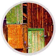 Colorful Old Barn Wood Round Beach Towel