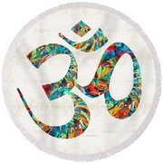 Colorful Om Symbol - Sharon Cummings Round Beach Towel
