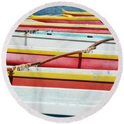 Colorful Outrigger Canoes Round Beach Towel