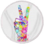 Colorful Painting Of Hand Point Two Finger Round Beach Towel