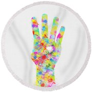 Colorful Painting Of Hand Pointing Four Finger Round Beach Towel