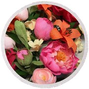 Colorful Paper Flower Blossoms  Round Beach Towel