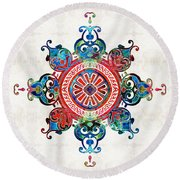 Colorful Pattern Art - Color Fusion Design 3 By Sharon Cummings Round Beach Towel