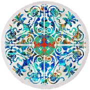 Colorful Pattern Art - Color Fusion Design 5 By Sharon Cummings Round Beach Towel