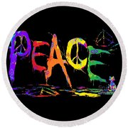 Colorful Peace Cat Round Beach Towel