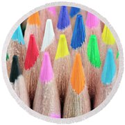 Colorful Pencils Round Beach Towel