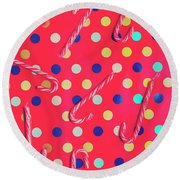 Colorful Pepermint Candy Canes Round Beach Towel