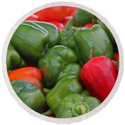 Colorful Peppers Round Beach Towel
