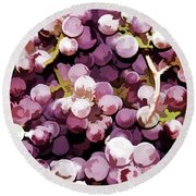 Colorful Pink Tasty Grapes In The Basket Round Beach Towel