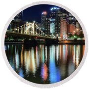 Colorful Pittsburgh Lights Round Beach Towel