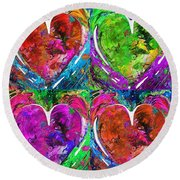 Colorful Pop Hearts Love Art By Sharon Cummings Round Beach Towel