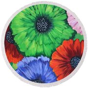 Colorful Poppy Lime Round Beach Towel