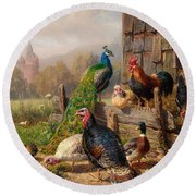 Colorful Poultry Round Beach Towel