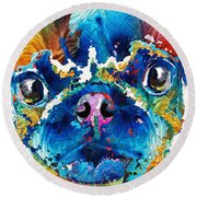 Colorful Pug Art - Smug Pug - By Sharon Cummings Round Beach Towel