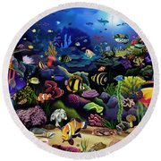 Colorful Reef Round Beach Towel