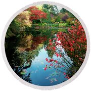 Colorful Reflection In Autumn Gardens. Round Beach Towel