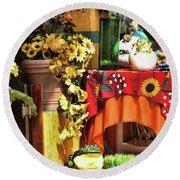 Colorful Restaurant Bucerias Round Beach Towel