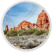 Colorful Rock Formations In Kodachrome Basin State Park, Utah Round Beach Towel