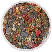 Colorful Rocks In Stream Bed Montana Round Beach Towel