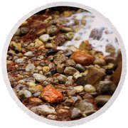 Colorful Rocks With Waterfall Round Beach Towel