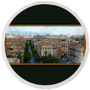 Colorful Rome Cityscape Round Beach Towel