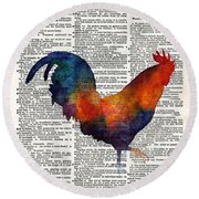 Colorful Rooster On Vintage Dictionary Round Beach Towel by Hailey E Herrera